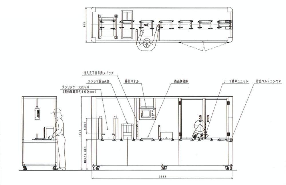 薄箱自動梱包機 外観図